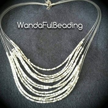White & Clear Seed Bead Multi-Strand Choker Necklace