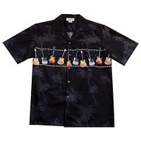 Guitar Black Hawaiian Border Shirt