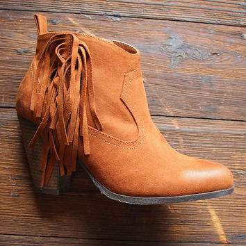 Classic Fringe Booties in Rust