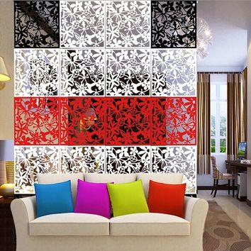4pcs Flower Wallpaper Wall Sticker Hanging Screen Curtain Room Divider Partition New Feshion Home Decoration