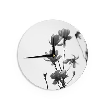 "Monika Strigel ""Mulan Magnolia"" White Gray Wall Clock"