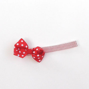 Chevron headband, red stretch band, red dot bow, baby girl,  girl's, women's,