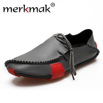 Merkmak Casual Genuine Leather Men Shoes Comfortable Slip On Men Flats Loafers Moccasins Sapatos Masculinos Big Size 39-47 Shoes