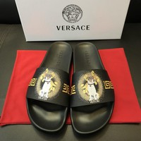 Versace Print Leather Slides Sandals Dsu6767 - Best Online Sale