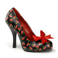Black & Red Cherry Print Cutie Pie Pumps