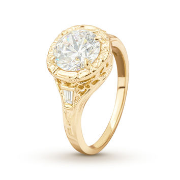 Mounting Only - Antique Filigree Yellow Gold Engagement Ring