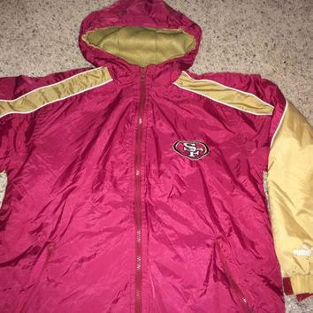 Sale!! Vintage Puma San Francisco SF 49ers Hooded Rain coat NFL Football Jacket