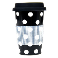 Black & White Polka Dot Travel Mug