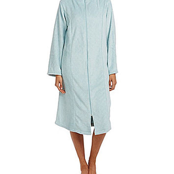 Go Softly Embossed Zip Front Robe - Cloud Blue