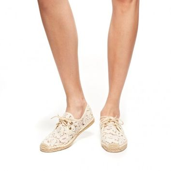 Tulip Lace Derby - Ivory Lace Up Espadrilles for Women from Soludos - Soludos Espadrilles