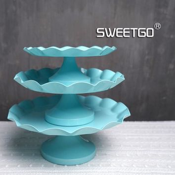 Tiffany blue Snack tray cake stand cupcake plate tools for cake waterproof paint candy bar decoration for wedding party bakeware