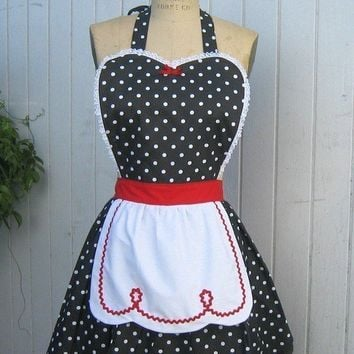 apron Retro apron womens black polka dots with red  full apron hostess gift is vintage inspired