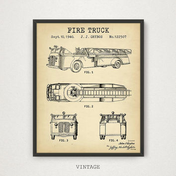 Fire Truck Patent Printable, Fireman Poster, Fire Truck Blueprint Wall Art, Fireman Gift, Firefighter Print, Fire House Decor, Vintage Art