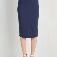 Pinup Long Pencil Admirable Individuality Skirt in Navy