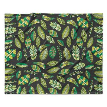 "Pom Graphic Design ""Tropical Botanicals 2"" Nature Green Fleece Throw Blanket"