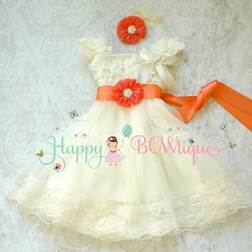 Flower girls dress/ Coral Ivory Chiffon Lace Dress set