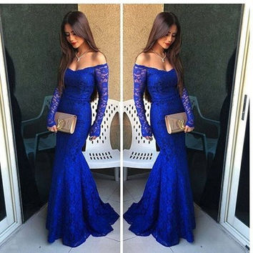 Long Sleeve Royal Blue Lace Prom Dresses,Prom Dress