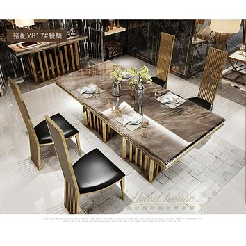 Minimalist stainless steel golden dining room set with marble table and leather chairs(1+4 chairs)