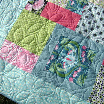 Lovely Lap Quilt in Soft Springtime colors - Handmade Modern Blanket in Pink Turquoise Green White and black