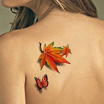 TAFLY Temporary Tattoos 3D Butterfly and Tree Leaves Waterproof Body Art Stickers 5 Sheets