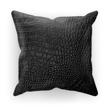 Black Alligator Scale skin Cushion