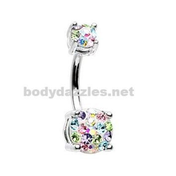 Candy Multi Sprinkle Dot Gem Prong Sparkle Belly Button Ring 14ga