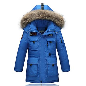 2017 Winter Warm boys Down Jackets Parkas Children Fur Collar Hooded Outerwear & Coats Boy Thick Down Feather Jacket-40 Degrees