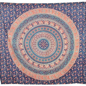Elephant Mandala Tapestry Twin Psychedelic Tapestries Medallion Tapestry Hippie Bohemian Wall Hanging Beach Throw Cotton Bedsheet Wall Art, TP4029