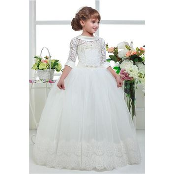 Three Quater Sleeves Special Occasion Gown Flower Girl Dresses Girls Pageant Dresses First Communion Dresses Holy Dresses