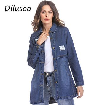 Dilusoo Women Denim Long Jackets Letter Painting Basic Coats Europe Autumn Denim Coats Women Streetwear Loose Casual Winter Coat