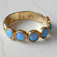 Blue Opal Ring - 14k Yellow Gold plated Over Brass - Gemstone Band Round Stone-Birthstone Rings - Bezel Rings-Mother's Day Gift