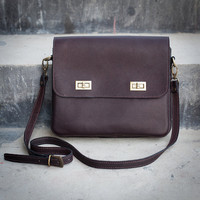 Handmade Leather Purse - Dark Brown Hip Bag / Leather Satchel / Shoulder Bag / Hand Bag - Full Grain Cowhide Leather Bag - Ipad Bag