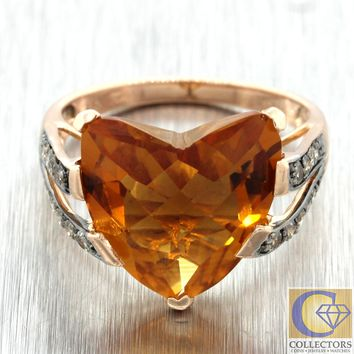 Authentic LeVian 14k Rose Gold Large Heart Citrine Chocolate Diamond Ring