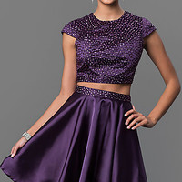 Purple Short Two Piece Cap Sleeve Dress