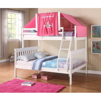 White & Pink Mission Twin & Full Tent Bunk Bed | something special every day