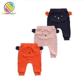 Baby Cute Big PP Pants Boys Winter Fall Fashion Warm 3D Bear Bottom Pant Leggings Girls Harem Diaper Leggins Fills Child Clothes