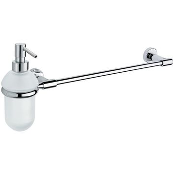 BA Tecno Wall Bathroom Towel Bar Rail Holder Hanger With Soap Dispenser - Brass