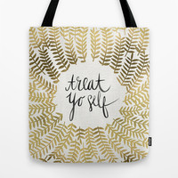 Treat Yo Self – Gold Tote Bag by Cat Coquillette