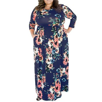 4xl 5xl Big Size Vintage Floral Printing Dresses Plus Size Woman Swing Dress 2018 Spring Elegant 3/4 Sleeve Casual Chic Vestidos