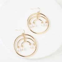 Shine Out Gold and Pearl Hoop Earrings