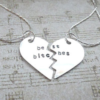 Best Bitches  Best Friends Hand Stamped Broken Heart Necklace Set