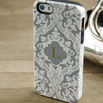 Monogrammed iPhone 5 Case Monogram iPhone Case, 5S, 5C, iPhone 4 Case, Samsung Galaxy Cream and Gray Damask