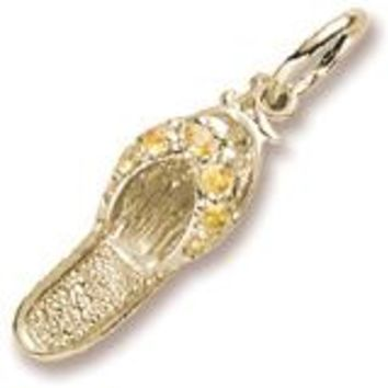 Topaz Sandal Charm in Yellow Gold Plated