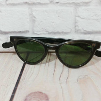 Vintage Black American Optical Cat Eye Frames Retro Sunglasses Eyewear
