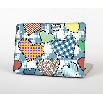 The Stitched Plaid Vector Fabric Hearts Skin for the Apple MacBook Air 13""