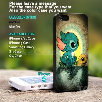 Swimming Stitch and Turtles - For iPhone 5 Black Case Cover