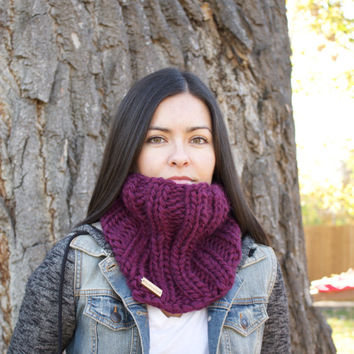 Plum Knit Wool Cowl/ Infinity Scarf/ Chunky Knit Cowl/ Womens Infinity Cowl/ Wide Cowl/ Fall Infinity Scarf/ Chunky Scarf/Oversized Scarf
