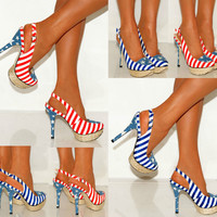 Women USA Amercian Flag Blue Stripe Platforms High Heels Shoes Red Sling