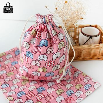 Pink elephant print cotton bag