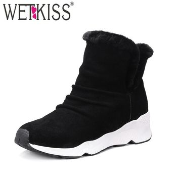 WETKISS 2018 Wool Liner Women Snow Boots Genuine Suede Leather Slip on Lamb Fur Shoes Woman Wedges Platform Winter Boots Ankle